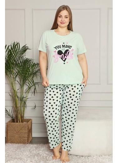 Akbeniz Kadın %100 Pamuk Cepli Kısa Kol Büyük Beden Pijama Takım 202080 Yeşil